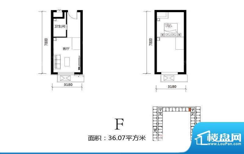 北京城建·N次方21#综合楼F户型面积:36.07平米