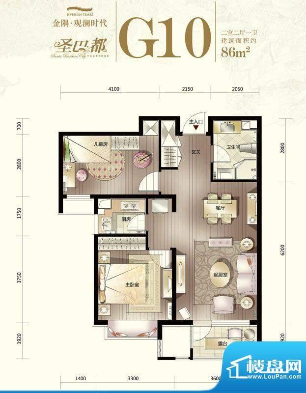 金隅·观澜时代G10-02户型图 2面积:86.00平米