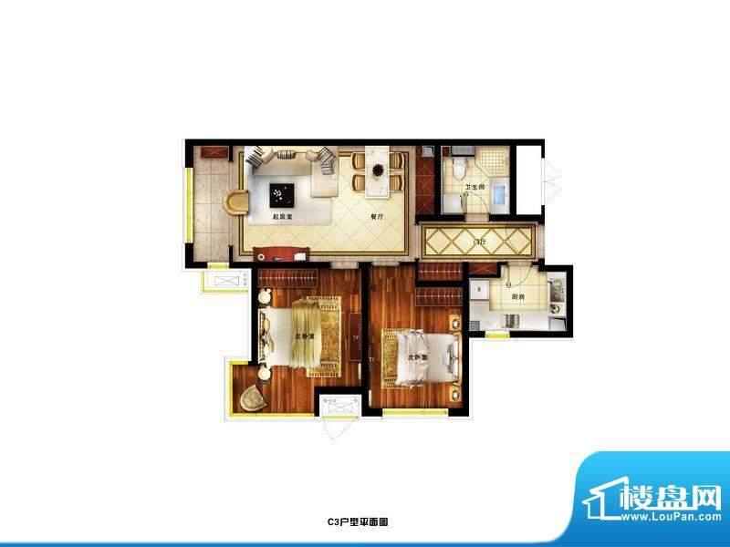 润景公馆精装C3户型 3室2厅1卫