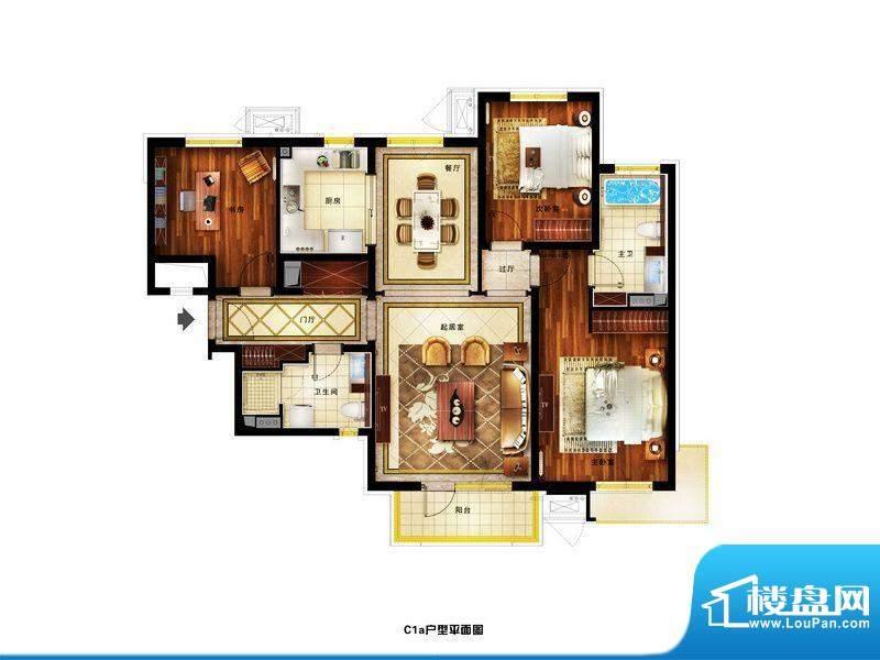 润景公馆精装C1a户型 3室2厅2卫
