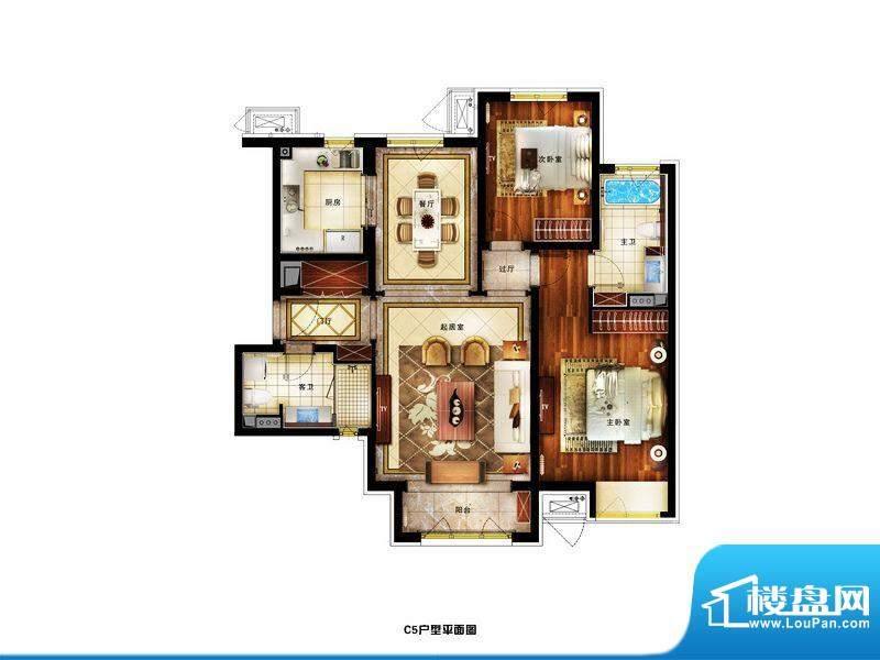 润景公馆精装C5户型 2室2厅2卫