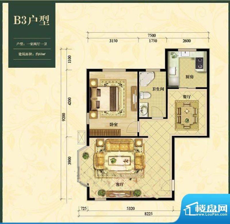 中加锦园B3户型 1室2厅1卫1厨面积:68.00平米