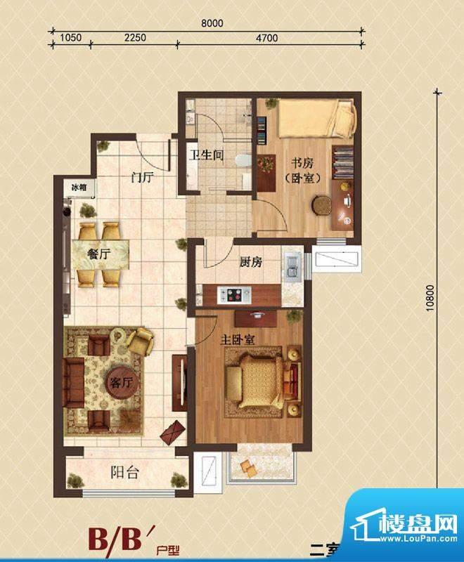 珠光御景B户型户型图 2室2厅1卫面积:78.00平米