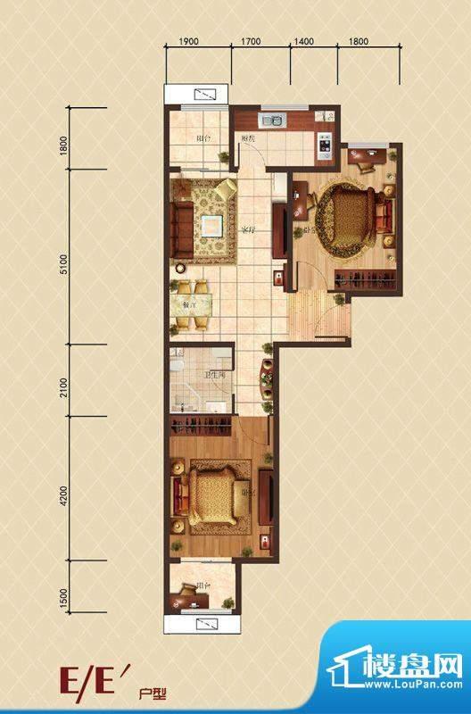 珠光御景E户型户型图 2室2厅1卫面积:68.85平米