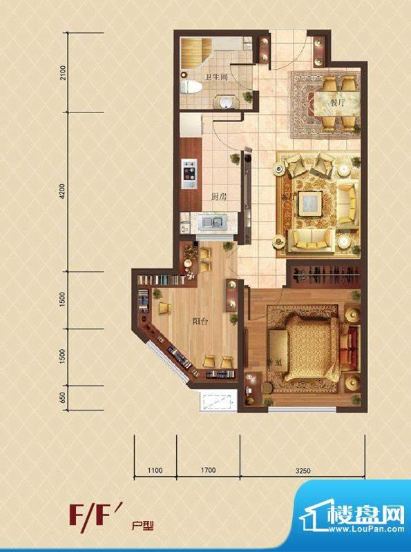 珠光御景F户型户型图 1室2厅1卫面积:49.25平米