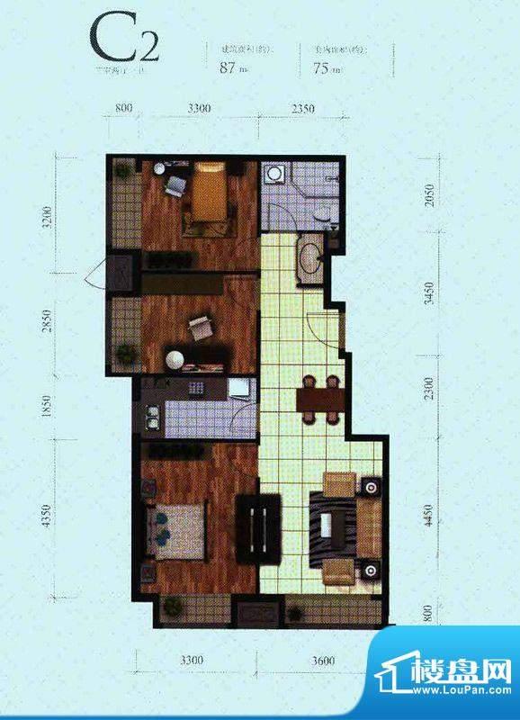 芭蕾雨·悦都二期C2户型 3室2厅面积:87.00平米