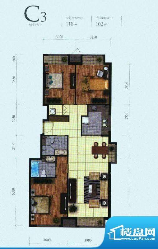 芭蕾雨·悦都二期C3户型 3室2厅面积:118.00平米