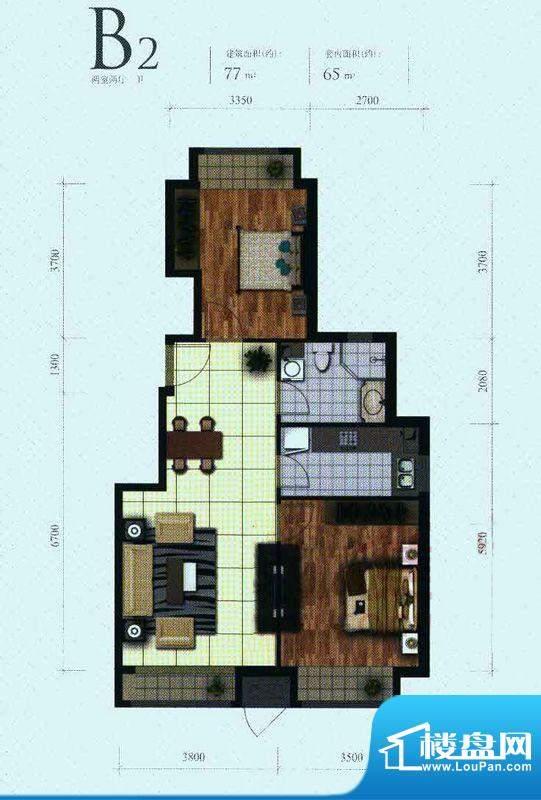 芭蕾雨·悦都二期B2户型 2室2厅面积:77.00平米