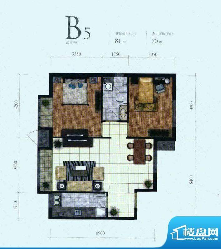芭蕾雨·悦都二期B5户型 2室2厅面积:81.00平米