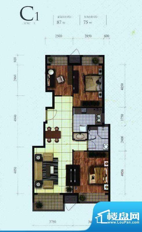 芭蕾雨·悦都二期C1户型 3室2厅面积:87.00平米