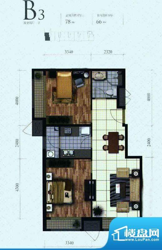 芭蕾雨·悦都二期B3户型 2室2厅面积:78.00平米