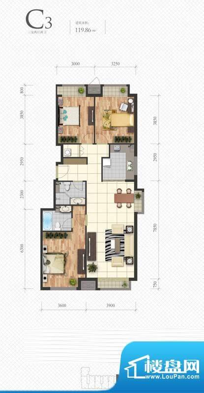 芭蕾雨·悦都C3户型图 3室2厅2面积:119.86平米
