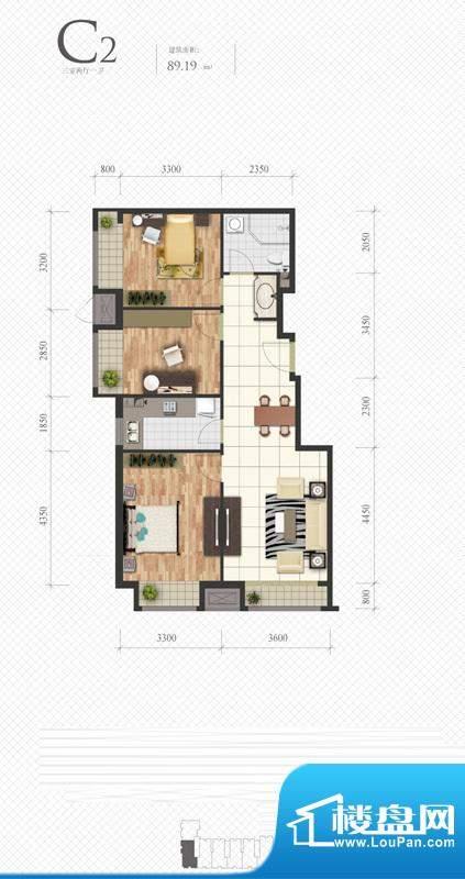 芭蕾雨·悦都C2户型图 3室2厅1面积:89.19平米