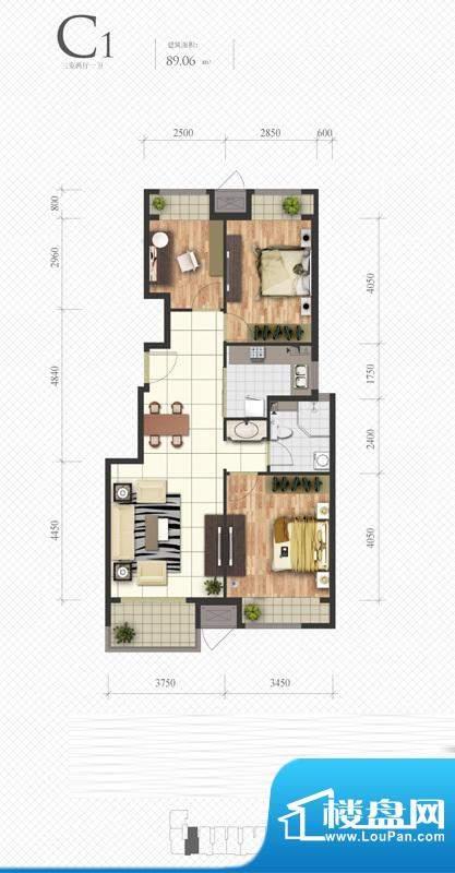 芭蕾雨·悦都C1户型图 3室2厅1面积:89.06平米