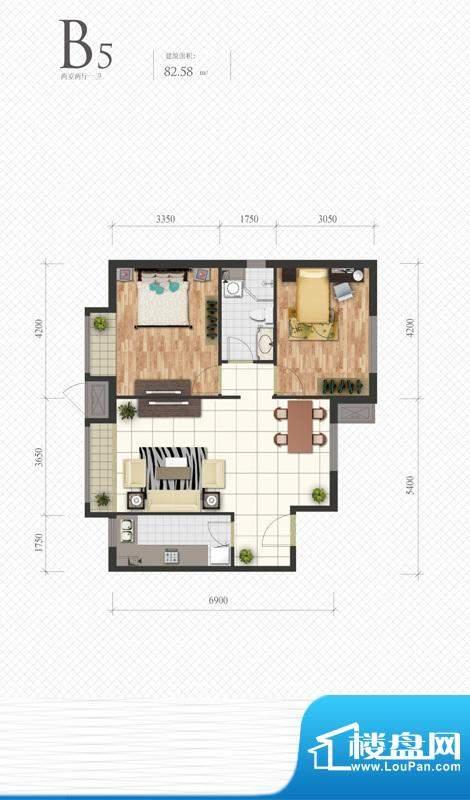 芭蕾雨·悦都B5户型图 2室2厅1面积:82.58平米