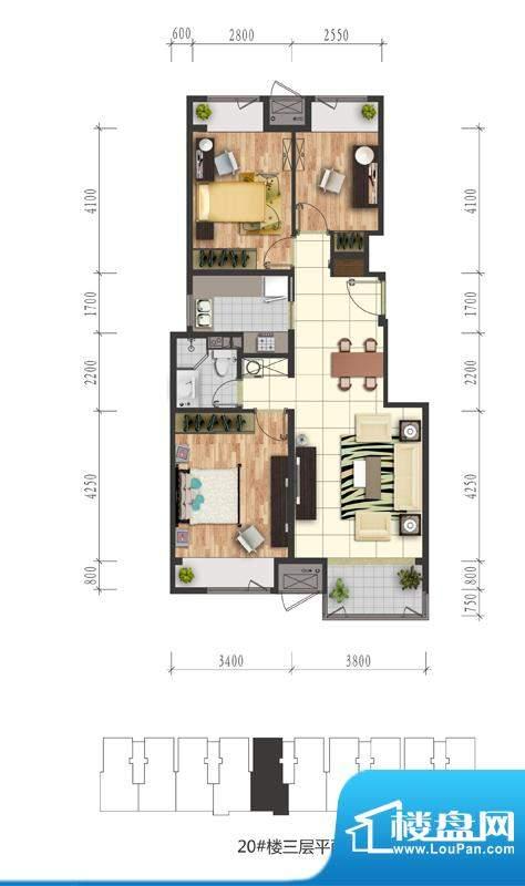 芭蕾雨·悦都20号楼三层户型图面积:88.00平米