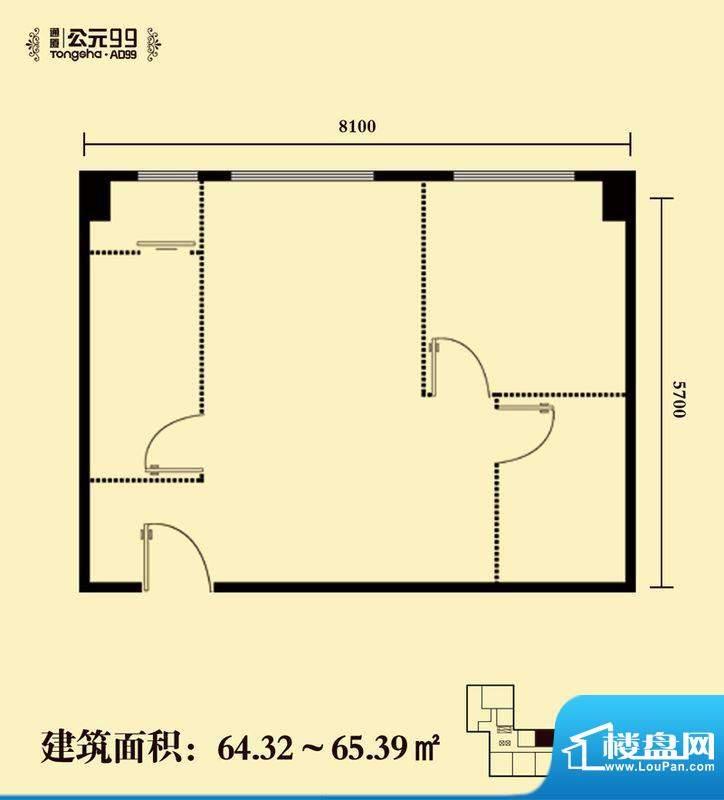 通厦·公元99一居户型图 1室1厅面积:64.32平米