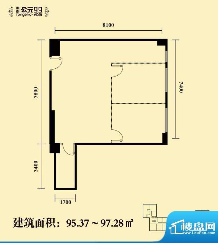 通厦·公元99二居户型图 2室1厅面积:95.37平米