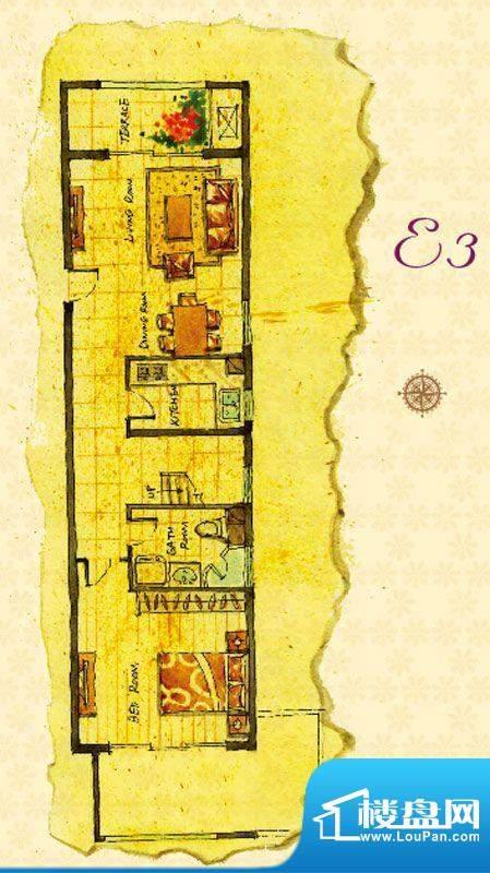 首邑溪谷15号楼E3户型图 1室1厅面积:65.00平米