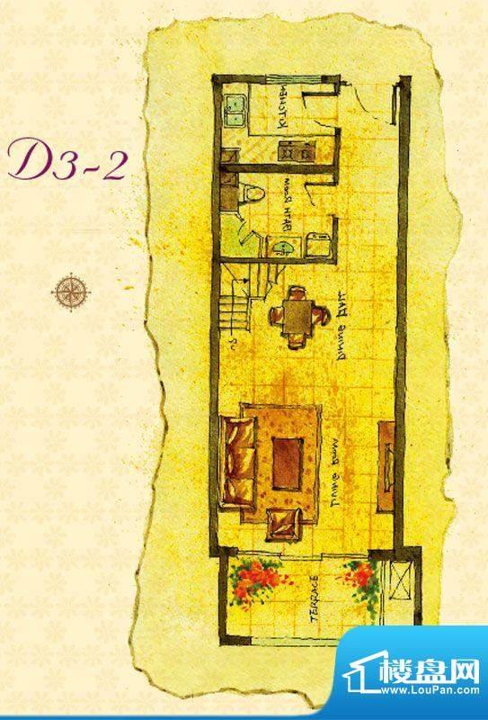 首邑溪谷D3-2户型图 1室1厅1卫