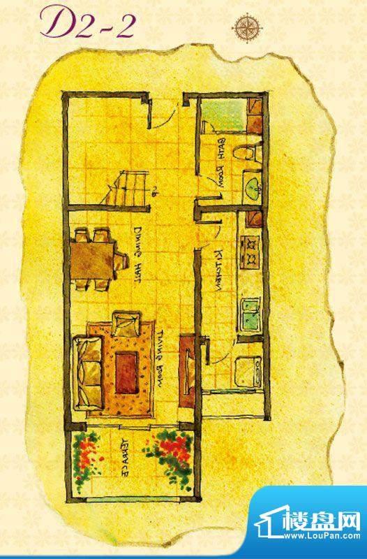首邑溪谷D2-2户型图 1室1厅1卫