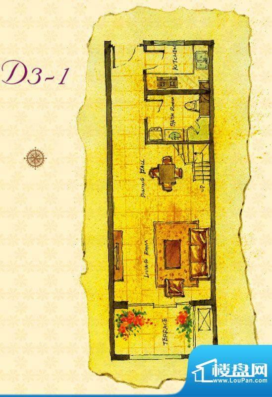 首邑溪谷D3-1户型图 1室1厅1卫