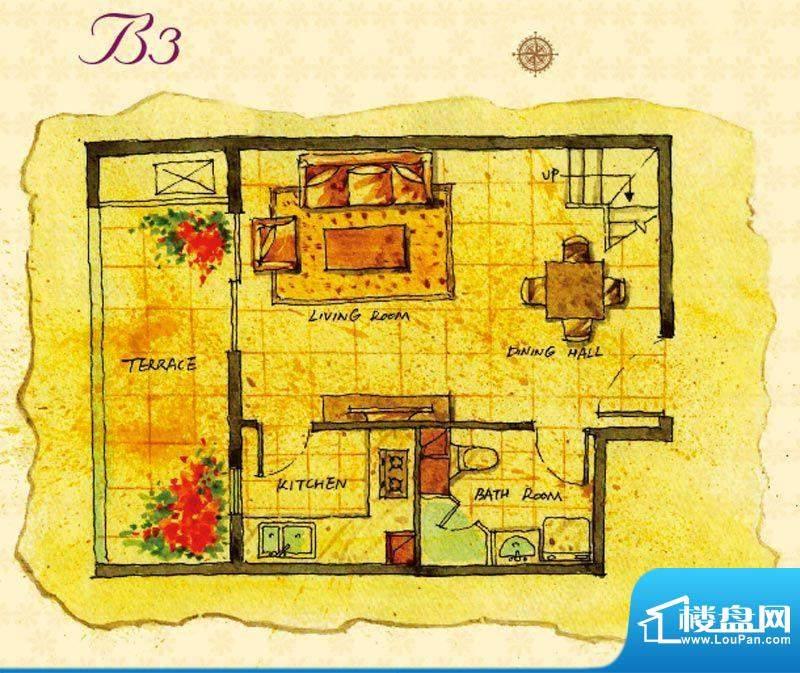首邑溪谷B3户型图 1室1厅1卫1厨