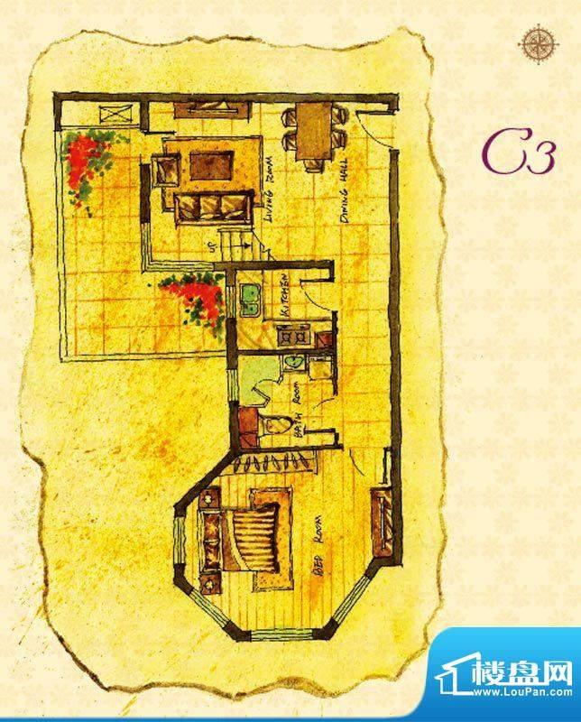 首邑溪谷15号楼C3户型图 1室1厅面积:73.00平米