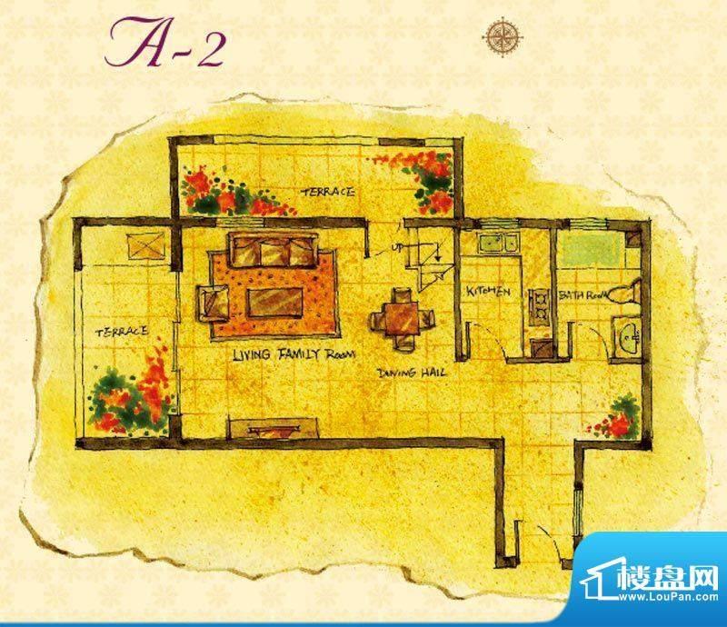 首邑溪谷15号楼A-2户型图 1室1面积:47.00平米