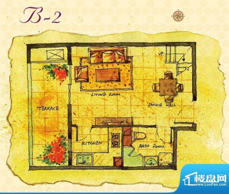 首邑溪谷15号楼B-2户型图 1室1面积:41.00平米