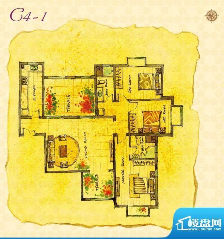 首邑溪谷C4-1户型图 1室1厅1卫