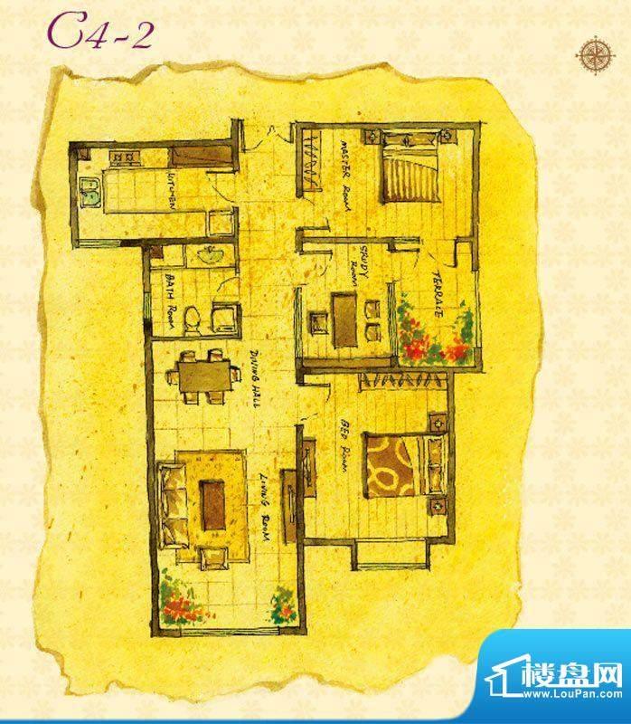 首邑溪谷C4-2户型图 1室1厅1卫