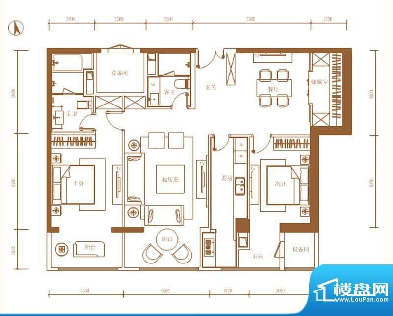 首开铂郡2单元1002Q1户型 2室2面积:158.00平米