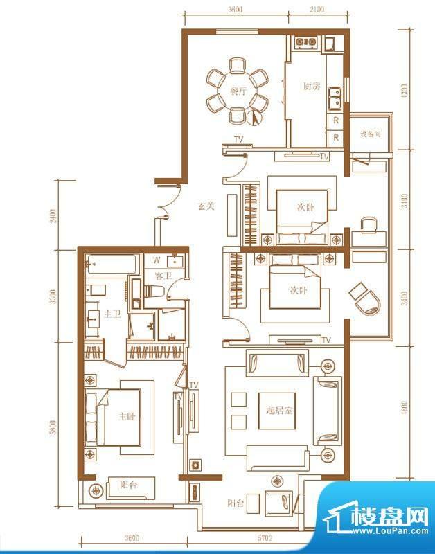 首开铂郡1单元701B户型 3室2厅面积:193.00平米