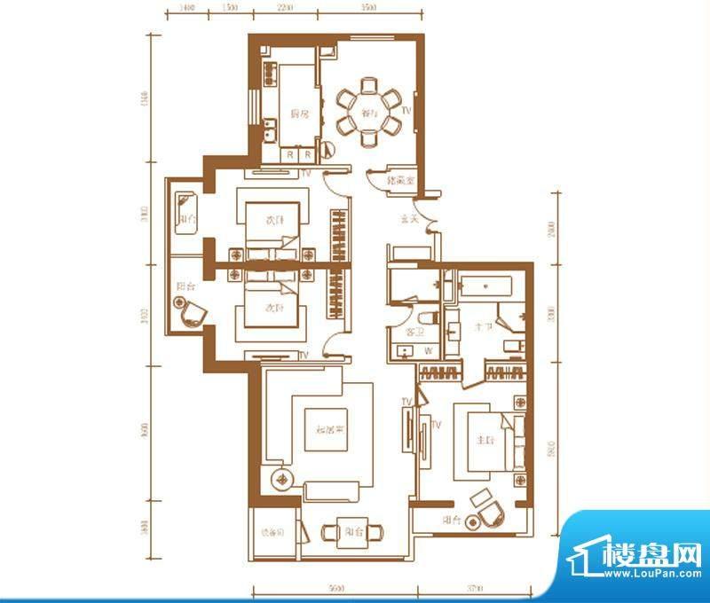首开铂郡1单元702A户型 3室2厅面积:196.00平米