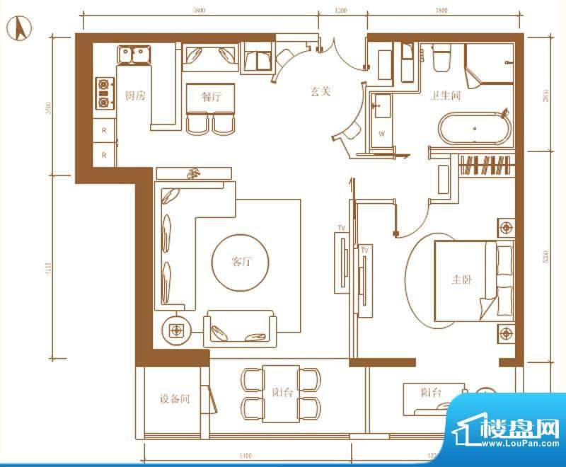 首开铂郡1单元902C户型 1室2厅面积:126.00平米