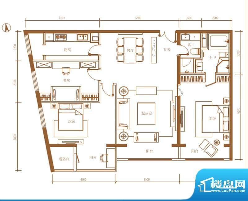 首开铂郡2单元702N户型 3室2厅面积:173.00平米
