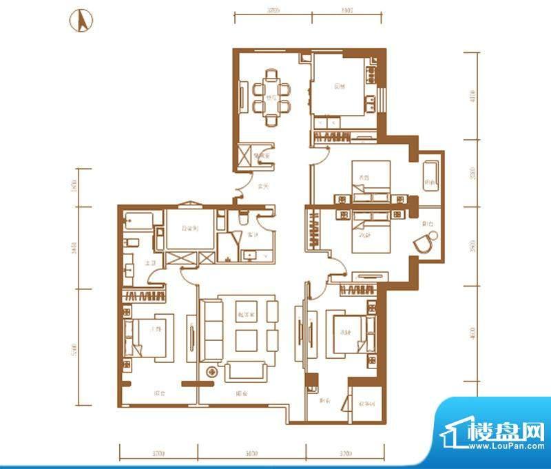 首开铂郡2单元701P户型 4室2厅面积:234.00平米