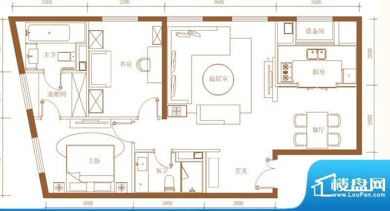 首开铂郡2单元703M户型 2室2厅面积:119.00平米