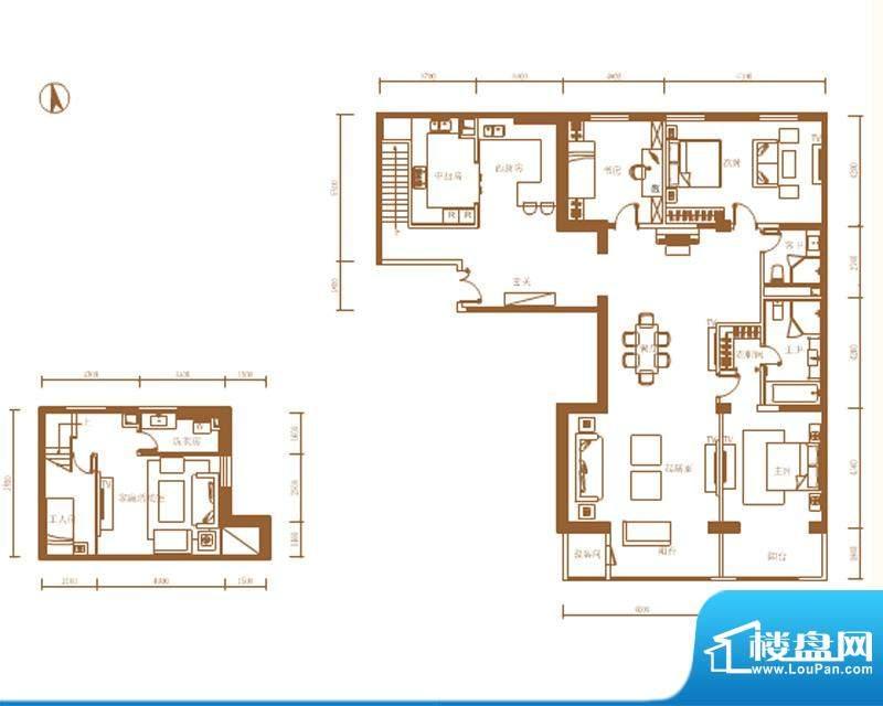 首开铂郡2单元1001D1户型 3室2面积:321.00平米