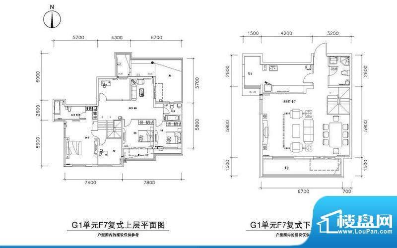 中兴和园G1-F7户型 5室2厅3卫1面积:234.75平米