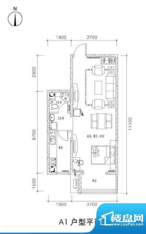 中兴和园A1户型 1室1厅1卫1厨面积:65.12平米