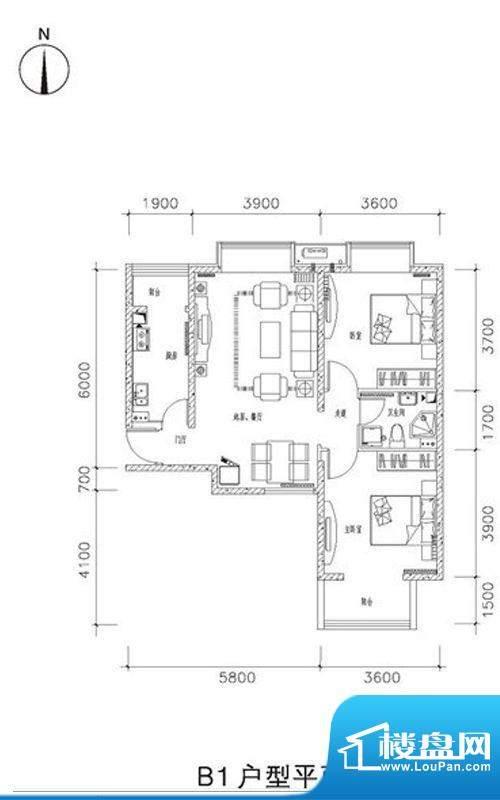 中兴和园B1户型 2室2厅1卫1厨面积:90.85平米