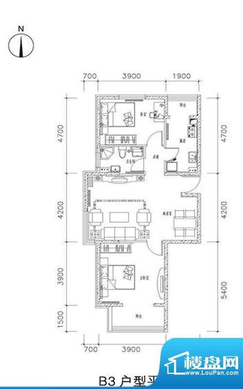中兴和园B3户型 2室2厅1卫1厨面积:90.04平米