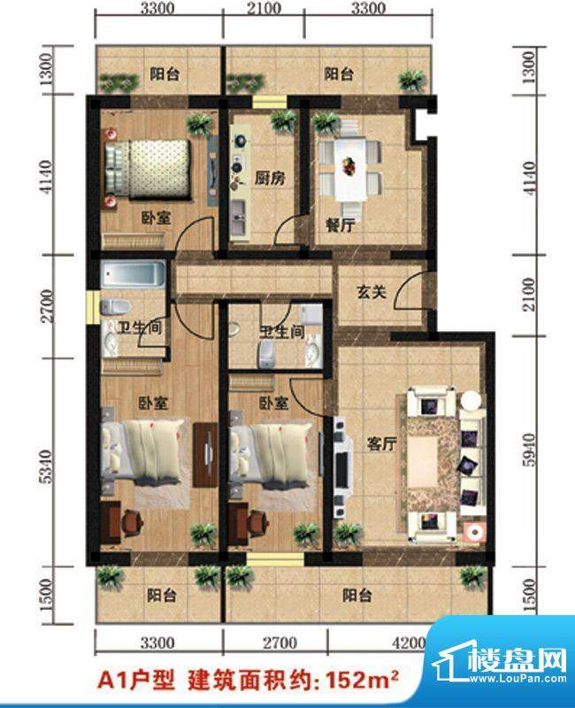众智慧谷A1户型 3室2厅2卫1厨面积:152.00平米