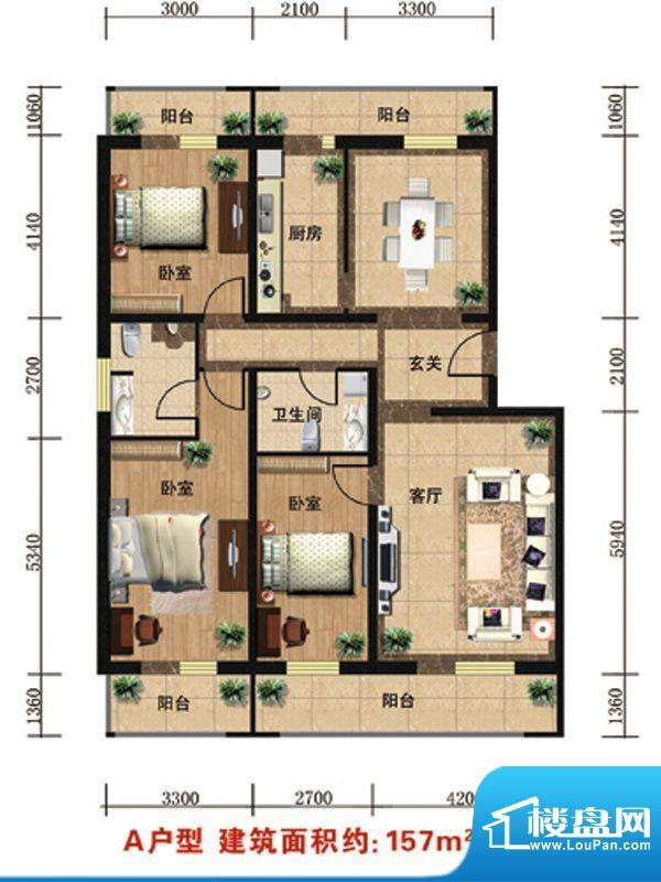 众智慧谷A户型 3室2厅2卫1厨面积:157.00平米