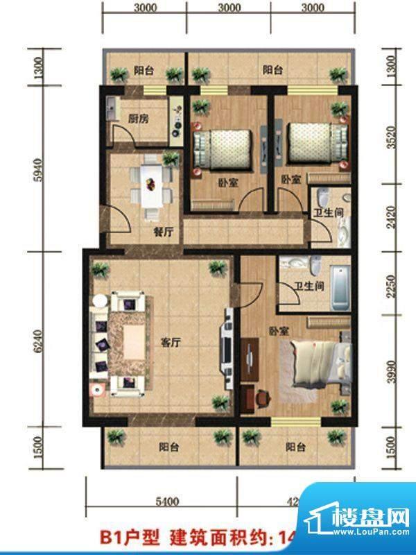 众智慧谷B1户型 3室2厅2卫1厨面积:149.00平米