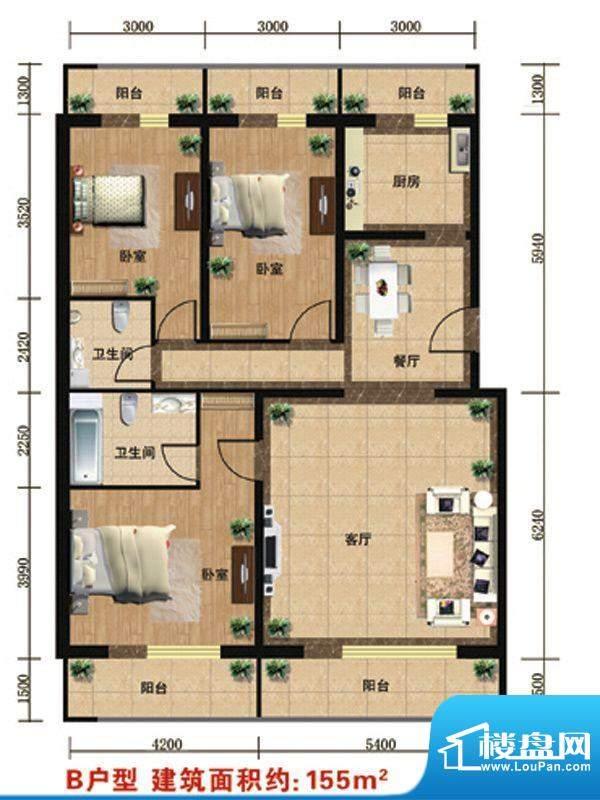 众智慧谷B户型 3室2厅2卫1厨面积:155.00平米