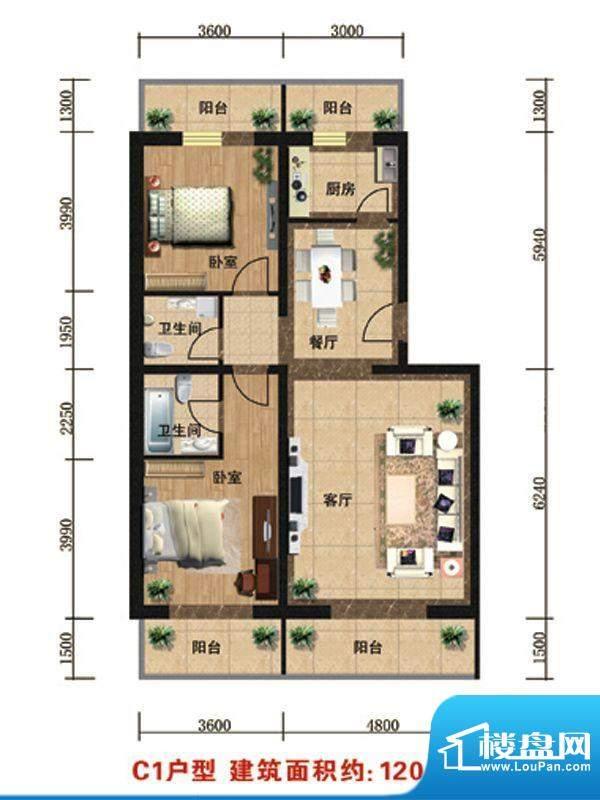众智慧谷C1户型 2室2厅2卫1厨面积:120.00平米