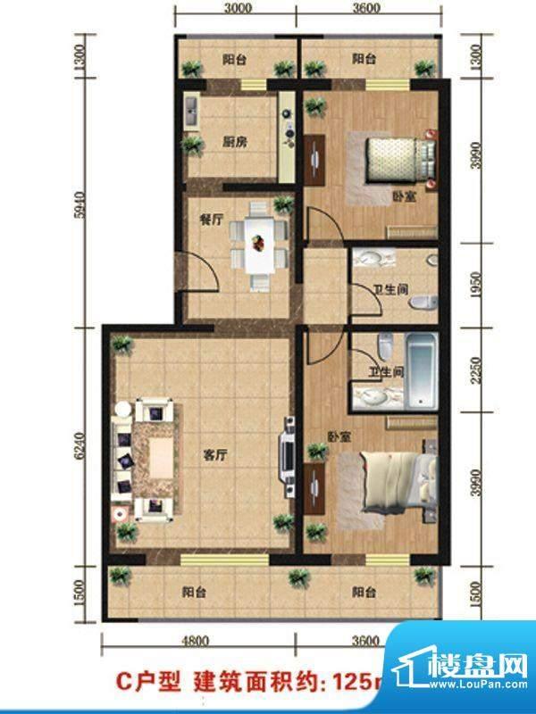 众智慧谷C户型 2室2厅2卫1厨面积:125.00平米